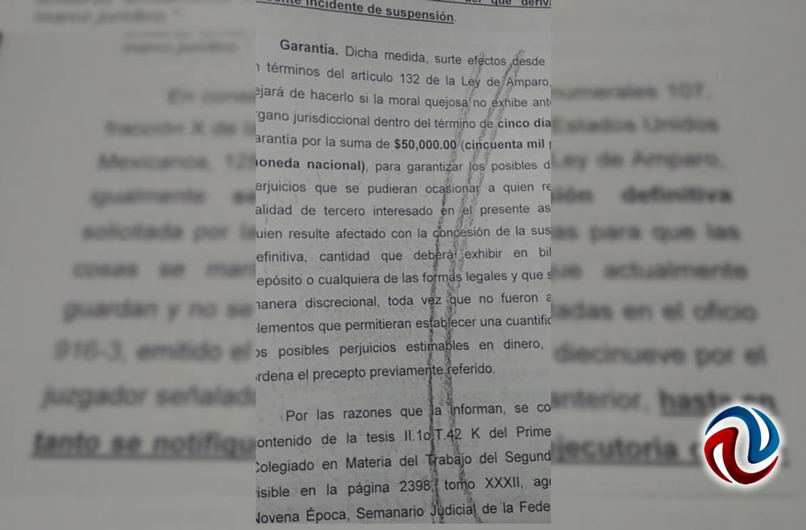 Juez otorga suspensión a AFN en caso de amparo