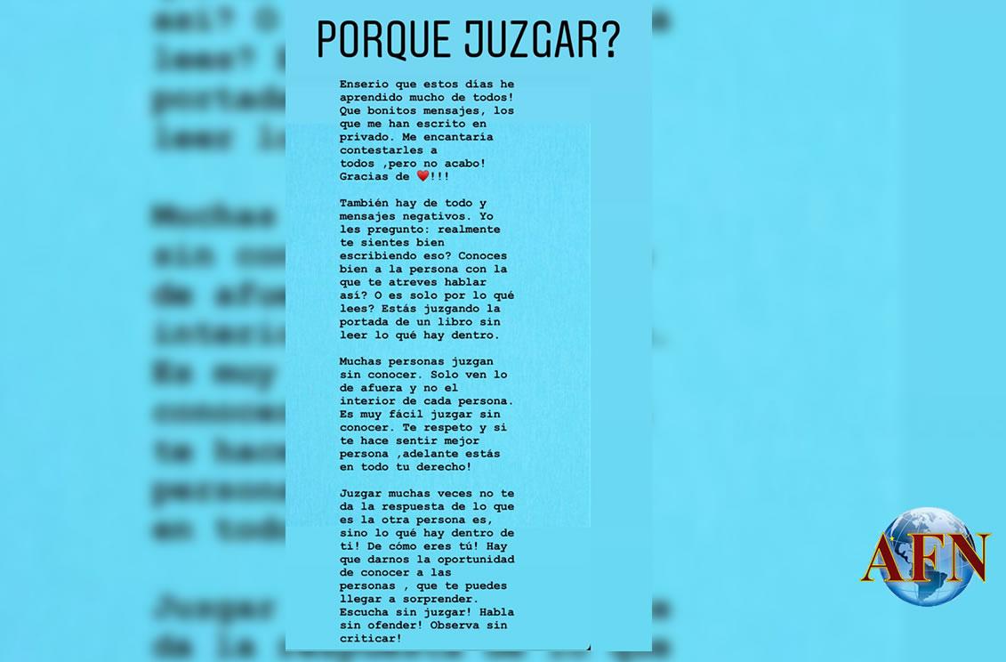 Tania Ruiz responde a quienes la juzgan