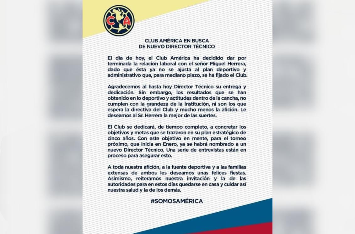 Club América despide al Piojo Miguel Herrera