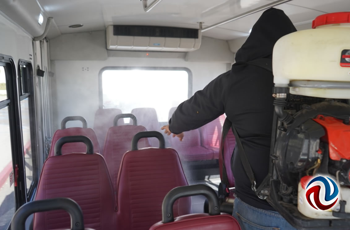 Realizan jornada de desinfección a unidades de transporte