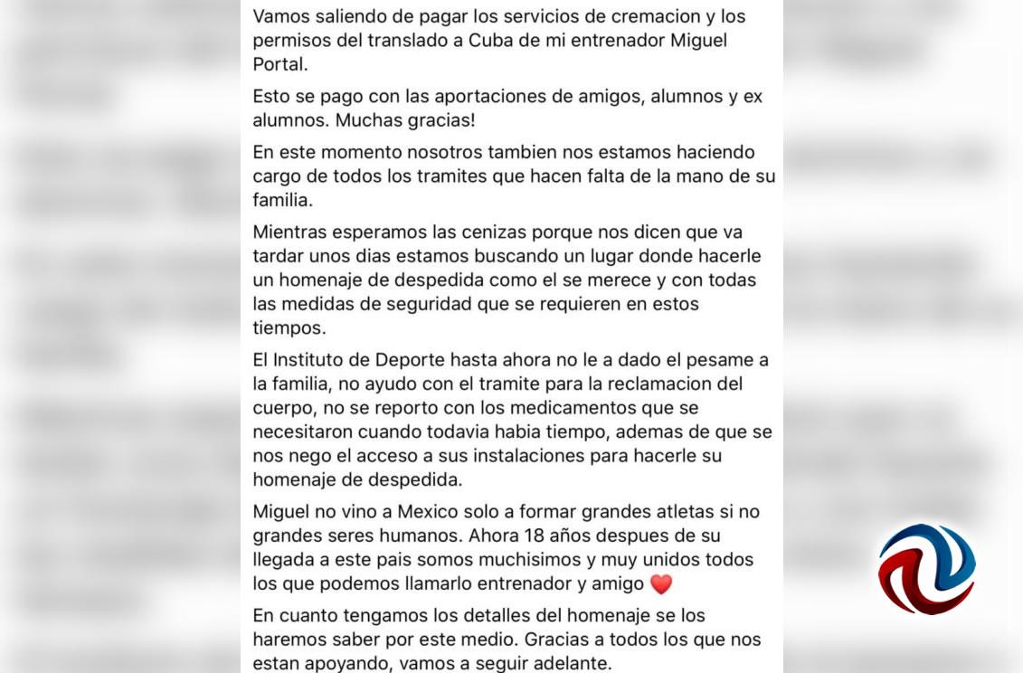 Piden funeral digno para entrenador cubano