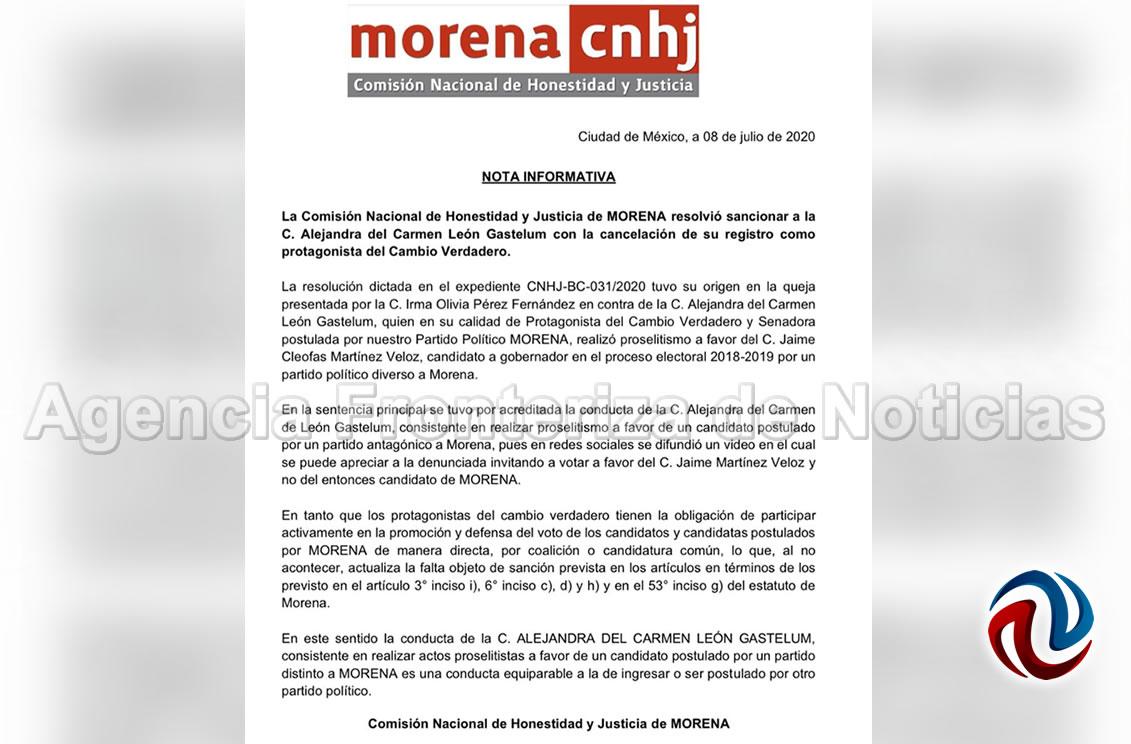 Cancela MORENA registro de Alejandra León