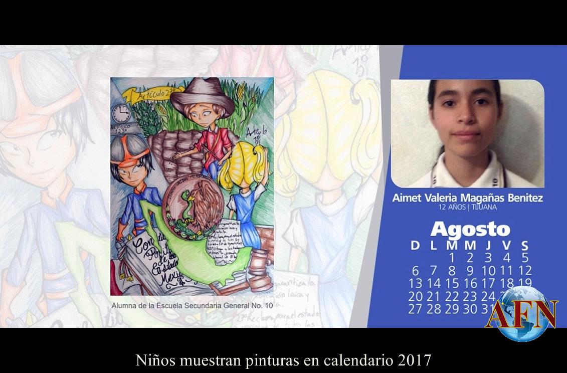 Niños muestran pinturas en calendario 2017