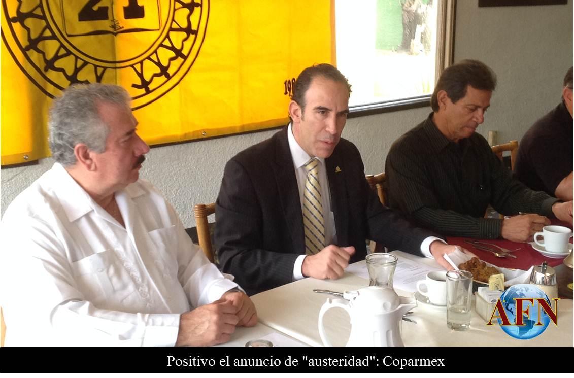 Positivo el anuncio de austeridad: Coparmex