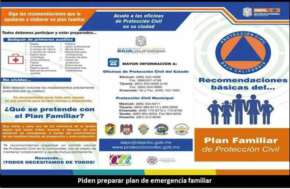 piden preparar plan de emergencia familiar
